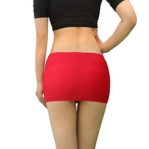 LUOSI Mujeres Lady Minifalda Transparente Minifaldas de Malla de Discoteca Micro Short Hot Sexy Tight See Through Perspective Bodycon Faldas (Color : Red, Size : 160CM-170CM 45KG-60KG)
