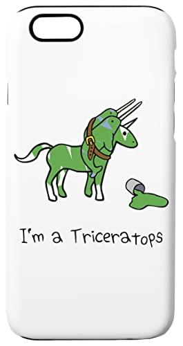 Im A Triceratops (Unicorn + Narwhals) Custodia Cassa Del Telefono Per iPhone 6, iPhone 6s Corazza Dura Con Strato Di Silicone All'interno Phone Case