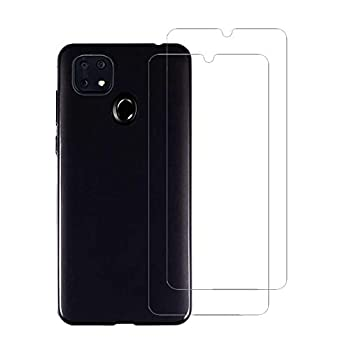 Flyme for ZTE Zmax 10 /ZTE Z6250 Case with Full Screen Protector Tempered Glass  2 Pack ,Flexible Scratch Resistant Non-Slip Shockproof Cover Soft TPU Rubber Slim Fit Case,Black