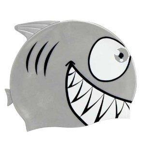 SwimmerShop Bonnet de piscine requin en silicone couleur argent