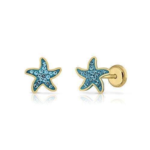 Pendientes oro real niña/mujer estrella de mar con piedras engastadas de alto brillo. Medida de la joya 7-8 mm. Con cierre de máxima seguridad a rosca (8 MM - CELESTE)