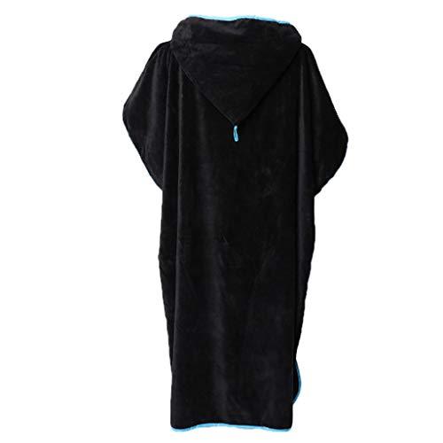 EErwachsene Badeponcho Strandtuch Frottee Bademantel Poncho mit Kapuzen Duschtuch Handtuch Bademantel Umkleide Strandtuch - Schwarz