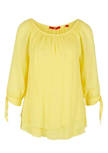 s.Oliver Damen Carmenbluse mit Binde-Detail Yellow 34