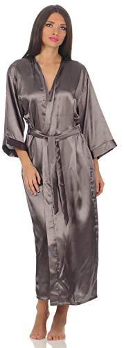 A:E: Damen langes Kimono Nachtmantel Seidenrobe Morgenmantel, S M L XL 2XL