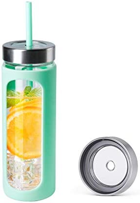 Kodrine 24 oz Glass Water Tumbler with Metal Straw and Lid Wide Mouth Water Bottle Straw Silicone product image