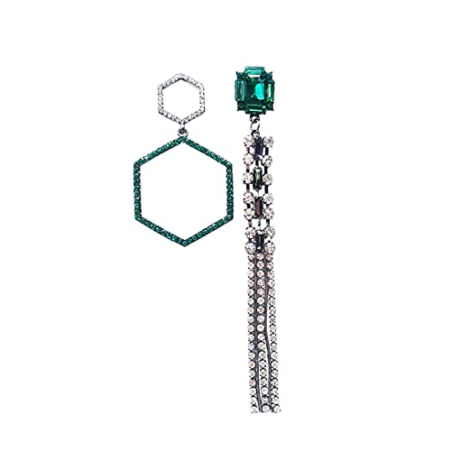 QIN Pendientes Colgantes geométricos de Cristal Vintage para Mujer, Pendientes Largos asimétricos Verdes con Flecos para Mujer, Pendientes con Gotas, Pendiente Bohemio