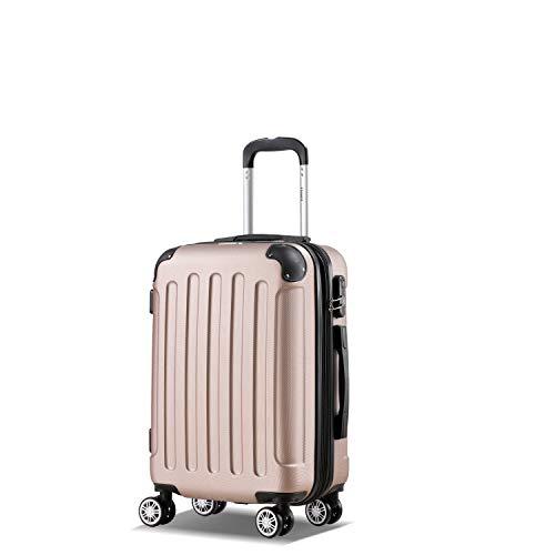 Flexot 2045 Handgepäck Koffer (Bordcase) - Farbe Rosegold Größe M Hartschalen-Koffer Trolley Rollkoffer Reisekoffer Handgepäck 4 Rollen