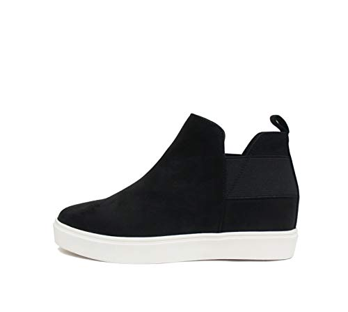 Soda Style Diana ~ Slip On Hidden Wedge Ankle Boot Fashion Sneaker with Elastic Gore Insets (Black, Numeric_7_Point_5)