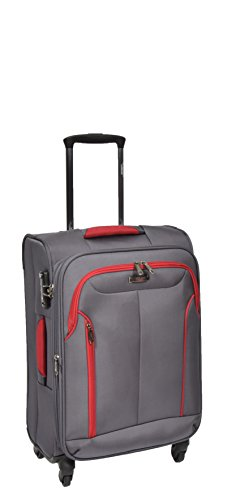Cabin Size Hand Luggage 4 Wheel Lightweight Expandable Soft Suitcase Travel Bag AA716 Grey