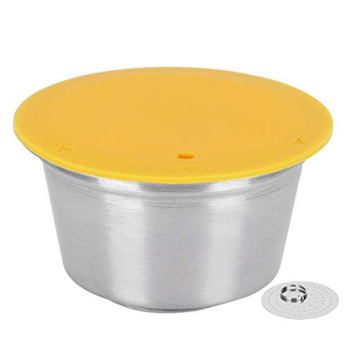 Cápsula de filtro de café Cápsula de taza para Dolce Gusto Silicona Acero inoxidable Recargable Práctica cápsula de café Suministro de máquina de café para amantes del café(yellow)