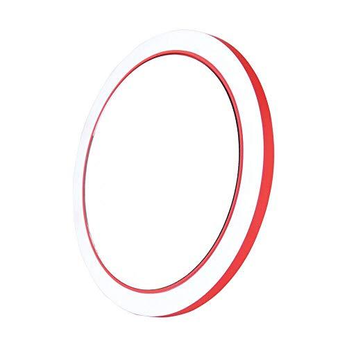 Maquillage portable mini maquillage lumineux maquillage petite main petite poche ronde miroir de voyage Miroir de maquillage (Color : Red)