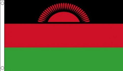 5 ft x 3 ft 150 x 90 cm-Neuf Malawi Malawian courant de soleil 100% Polyester Drapeau Banniere idéale pour Festival bar Club l'activité Décoration de Fête