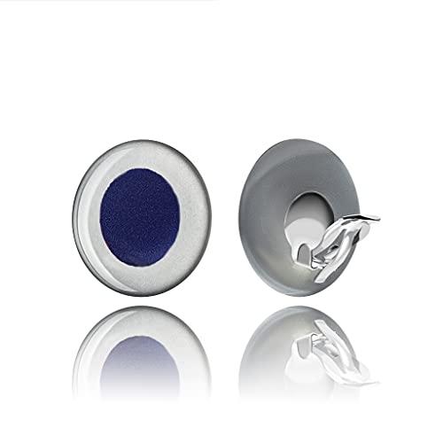 Orecchini a Clip Comoda tono Argento Blu Rotonda Presenta per la Mamma; Eleganti Gioielli con Clip Color Zaffiro per Tutti i Giorni; Diametro rotondo 1 pollice-2,5 cm