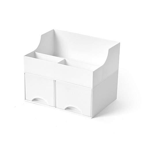 Caja de Almacenamiento de Cosméticos Maquillaje Organizador de escritorio, cajones cajón de tipo multifuncional de doble capa escritorio Cuidado de la Piel Barra de labios de acabado Joyero para Casa
