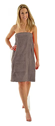 Damen und Herren Saunakilt, BIO-Baumwolle,NEUHEIT: Schlingenfeste Qualität, kein Fädenziehen mehr Grösse Damen Anthrazit XL bis XXL