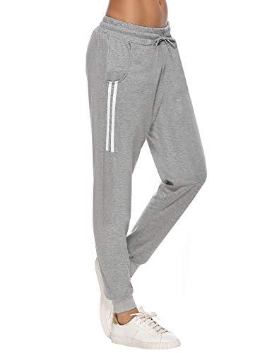 Aibrou Pantalon de Sport Femme Coton Stripe Pantalon Long pour Jogging Running Fitness Bas de Jogging Femme,A-gris,M