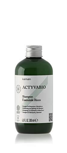 Kemon ACTYVABIO Shampoo Essenziale Ricco - Feuchtigkeits-Aufbau für trockenes und coloriertes Haar, Repair-Shampoo mit Nährpflege - 200 ml