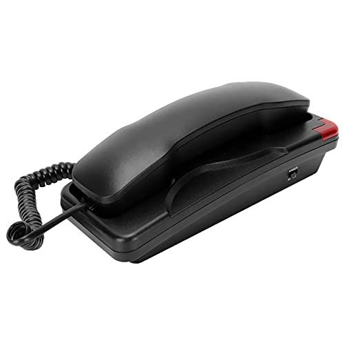 Goshyda Teléfono Fijo de Montaje en Pared, teléfono Fijo con Cable de Montaje en Pared de tamaño pequeño, Compatible con rellamada de una tecla para Hotel de Oficina en casa