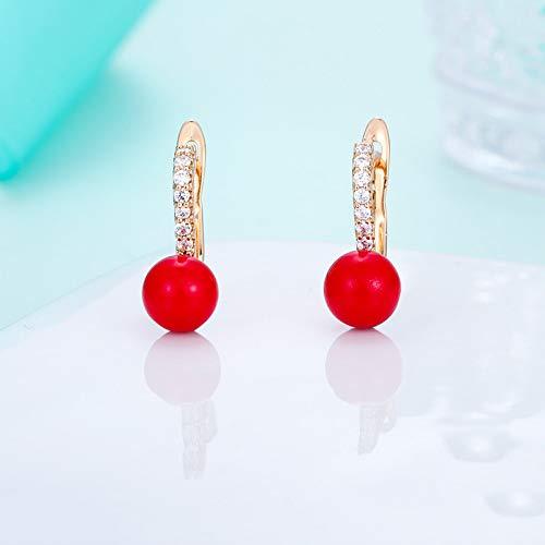 Pendientes Mujer Aro,Moda Oro Circonita Rojo Redondo Colgante De Perlas Simuladas Pendientes De Aro Anillo De Aro Ligero Hipoalergénico Pendientes De Joyería Circular Para Mujeres Niñas Fiesta B