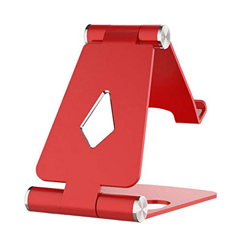 XLNB tablethouder, inklapbaar, van aluminium, in hoogte verstelbaar, mini-tafelstandaard, geschikt voor mobiele telefoons en tablets, rood