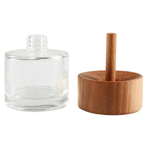 Lurrose 60Ml Huile Essentielle Diffuseur Couvercle En Bois Cylindrique Arôme Aromathérapie Récipient Diffuseur Conteneur pour La Maison Boutique (Blanc)