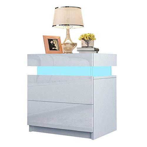 Mesita de noche con 2 cajones y luces LED para dormitorio (blanco, 45 x 35 x 52 cm)