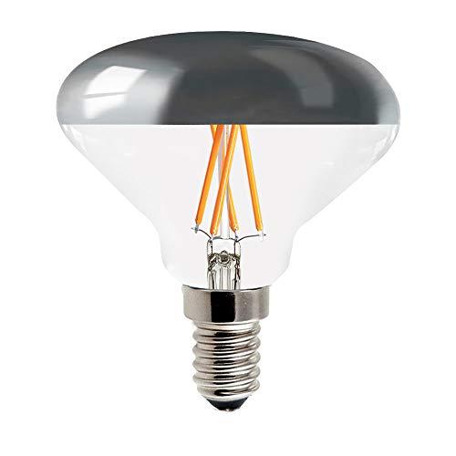 LED Filament Leuchtmittel R70 Allegra 4W = 40W E14 klar Kopfspiegel silber 2700K warmweiß DIMMBAR (4.1 Watt)