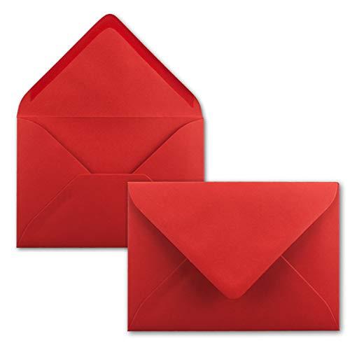 25 Mini Brief-Umschläge - Rot - 5,2 x 7,6 cm - Miniatur Kuverts mit Nassklebung für Blumen-Grüße, Grußkarten, Anhänger & Geld-Geschenke - FarbenFroh by GUSTAV NEUSER