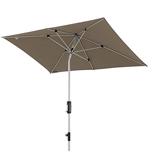Knirps Sonnenschirm Automatic - Rechteckiger Kurbelschirm - Modernes Design - Starker UV-Schutz - 230x150 cm - Taupe