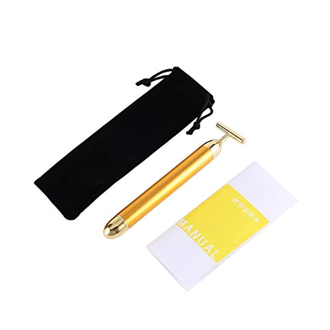 高原メナジェリーうつエネルギー美容ツールフェイシャルマッサージャーTシェイプフェイシャル美容ケア振動フェイシャルビューティーマッサージャーエネルギー振動バー(Color:golden)(Size:with bag)