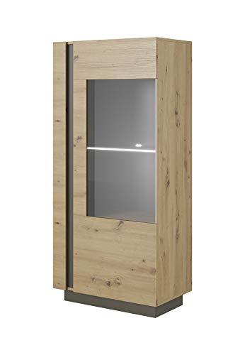 Modern Vitrine für Wohnzimmer Skandinavisch mit Glastüren und LED Beleuchtung - Weiß Hochglanz +...