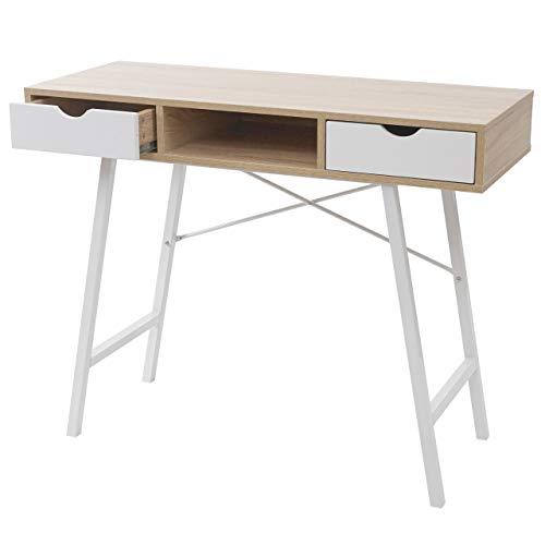 Mendler Scrivania consolle tavolino Sideboard HWC-E92 Legno Effetto 3D 100x40cm Bianco Legno