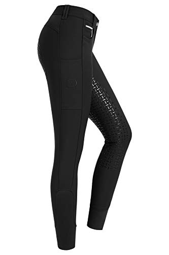 RIDERS CHOICE Pantalon d'équitation pour Femmes avec Fond Complet en Silicone - RidersDeal Collection pour Les Cavaliers, New Black, 36