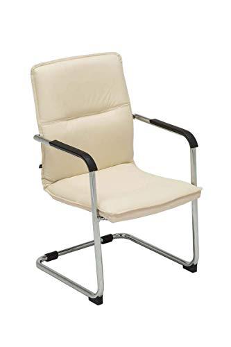 CLP Freischwinger Seattle mit Armlehne I Konferenzstuhl mit hochwertiger Polsterung und Kunstlederbezug, Farbe:Creme