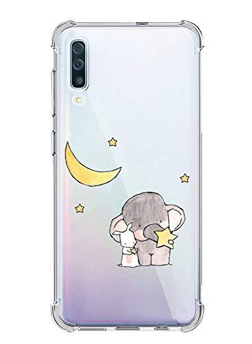 Oihxse Silicona Funda con Xiaomi Mi CC9/Xiaomi Mi 9LITE TPU Flexible Suave Transparente Protector Estuche Airbag Esquinas Reforzadas Ultra-Delgado Elefante Patrón Anti-Choque Caso (D2)