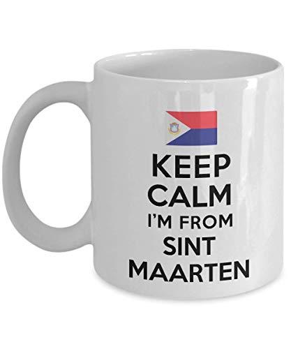 Regalo para la gente de Saint Martin Mantenga la calma Soy de Saint Martin Las mejores ideas para regalos geniales Taza de café Taza de té Nacionalidad Orgullo Hombres Mujeres