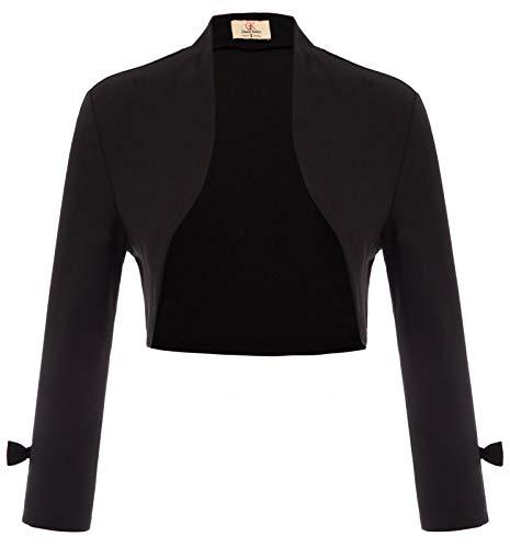 GRACE KARIN Mujer Chaqueta Corta Eleganta de Oficina Boda Fiesta Moda Clásico Elástico Negro S