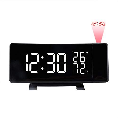 N / A Projektionswecker Gebogene Oberfläche, 3 Dimmer, mit USB-Telefonladegerät, Einstellbarer Lautstärke, Schlummerfunktion, 12 / 24H, 90 ° drehbar, Digitale Wecker für die Decke von Schlafzimmern