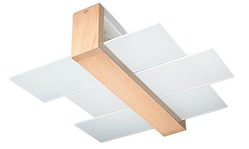 Sollux Lighting NEU Naturholz für Zimmer Glas Holz-SOLLUX FENIKS 2 SL.0076 quadratische Moderne Deckenleuchte 2-FLG. LED E-27 LEUCHTEN-Bei Amazon für den günstigsten Preis, Natural Holz