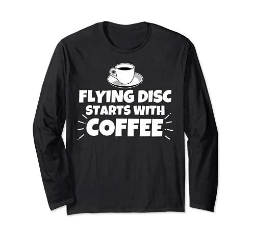 Disco volador comienza con café divertido Manga Larga