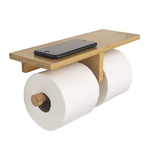 Toilettenpapierhalter aus natürlichem Bambus, zur Wandmontage, mit Ablage für Zubehör, Dekoration und Komfort