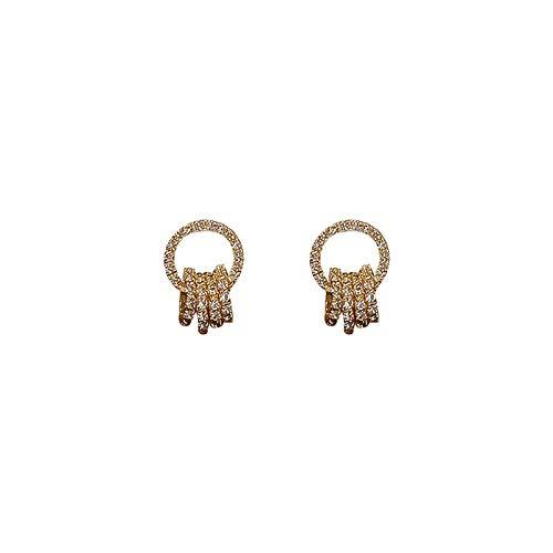 Pendientes de aro geométricos de diamantes de aguja de plata 925 pendientes de moda de temperamento pendientes simples mujeres