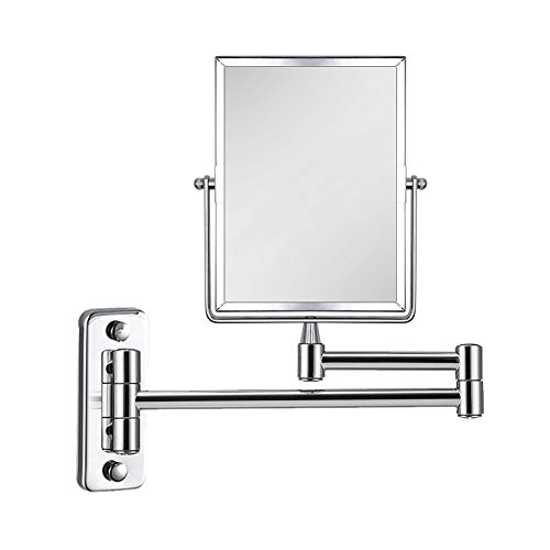 Qimh 3X Magnifying Wall Mounted Vanity Makeup Mirror | Rectangular 8x6 Inch -
