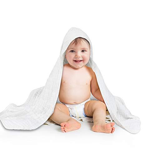 Baby Badetücher Kapuzenhandtuch 100% Baumwolle 6 Schichten Musselin Handtücher für Mädchen und Jungen Weich Atmungsaktiv 80x80cm (Weiß)