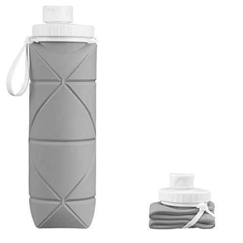 INTEREPRO Botella de agua plegable de silicona, reutilizable, antigoteo, 600 ml, portátil, para viajes, deportes y exteriores (gris)