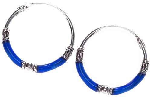 WINDALF Creolen ELÀ Ø 2 cm Ozean Blue Königsblau 925 Sterlingsilber