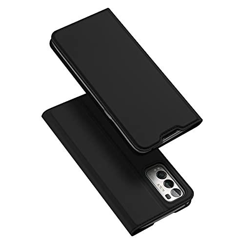DUX DUCIS Hülle für Oppo Find X3 Neo 5G, Leder Klappbar Handyhülle Schutzhülle Tasche Hülle mit [Kartenfach] [Ständer] [Magnetisch] für Oppo Find X3 Neo 5G (Schwarz)