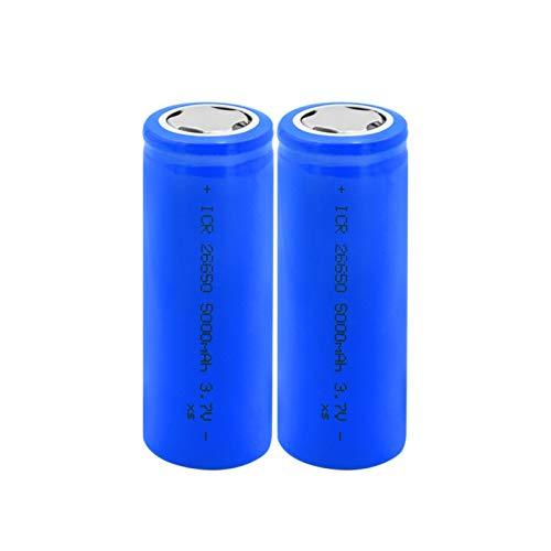 THENAGD Azul 3.7v Icr 26650 5000mah BateríAs De Iones De Litio De Litio, Linterna Plana Recargable para Faro Bateria 2pieces