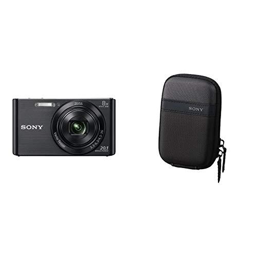 Sony DSC-W830 - Cámara compacta de 20.1 MP (Pantalla de 2.7', Zoom óptico 8X, estabilizador óptico), Negro + LCSTWP/B - Funda para cámara compacta, Color Negro