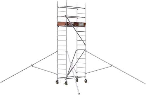 ALTEC Rollfix® 2.0 500 | 5m Arbeitshöhe | bremsb. Lenkrollen (Ø150mm) | Dreieckausleger | Made in Germany | TÜV&GS | belastbar 200kg/m² | Norm - EN 1004:2005 | Modulares Alu Arbeitsgerüst | Baugerüst